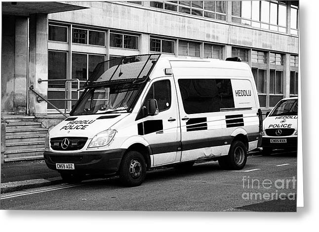 south wales police heddlu bilingual mercedes sprinter riot control support vehicle livery Cardiff Wa Greeting Card by Joe Fox