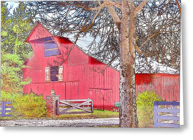Southall Road Red Barn Color Sketch Greeting Card