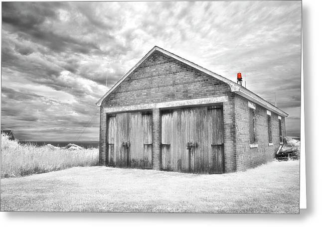 Southeast Light Boathouse- Black And White Greeting Card