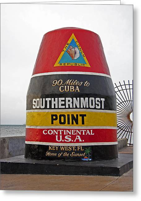 Southermost Point Of U.s.a. Buoy Marker Greeting Card by John Stephens