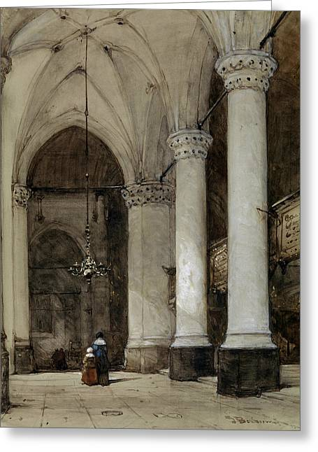 Southern Aisle Grote Of St. James In The Hague Greeting Card by Johannes Bosboom