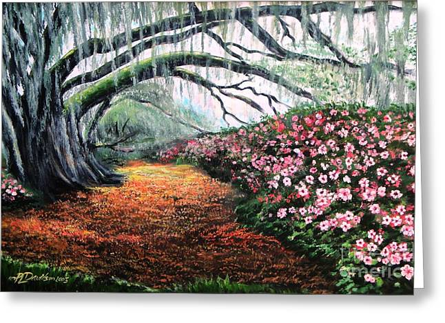 Greeting Card featuring the painting Southern Charm Oak And Azalea by Patricia L Davidson