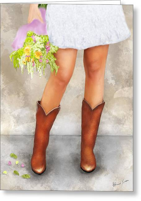 Southern Flower Girl In Her Fancy Boots Greeting Card