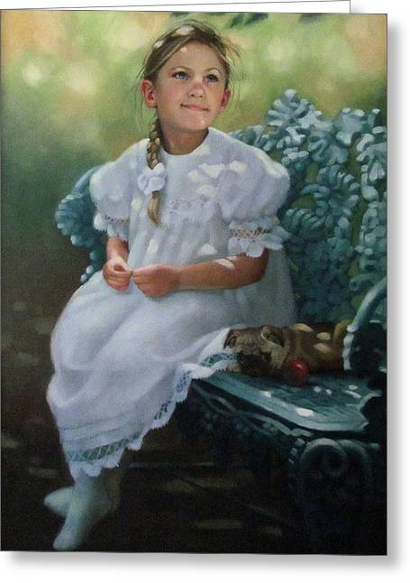Southern Girl Portrait Greeting Card by Janet McGrath