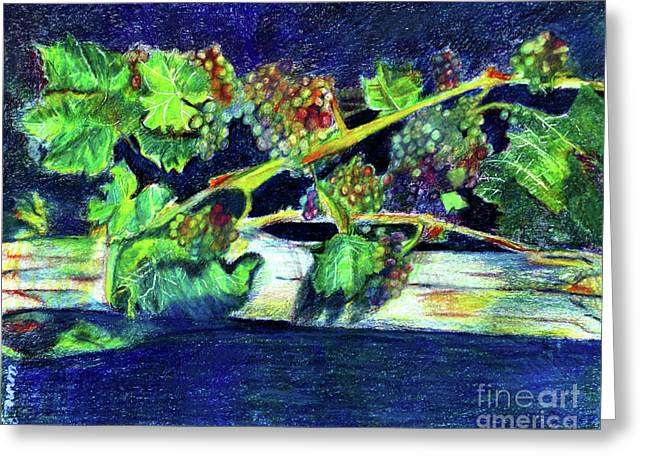 Southern Grapes Greeting Card by Anna Mize Bell