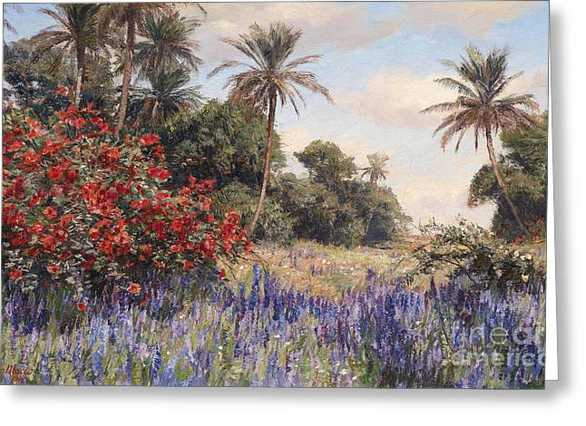 Southern Landscape With Lavender Greeting Card by Celestial Images