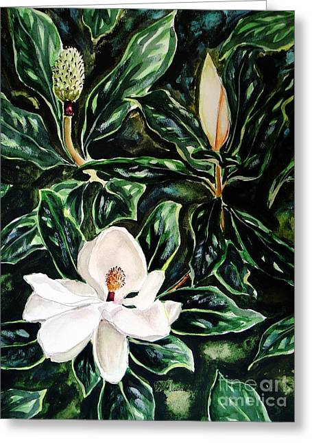 Southern Magnolia Bud And Bloom Greeting Card by Patricia L Davidson
