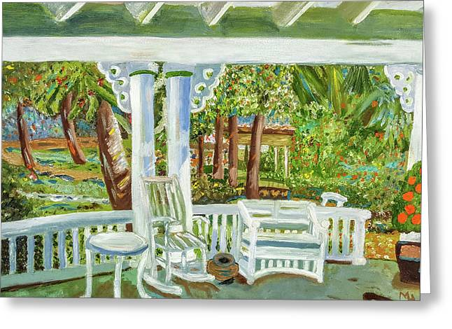 Southern Porches Greeting Card by Margaret Harmon