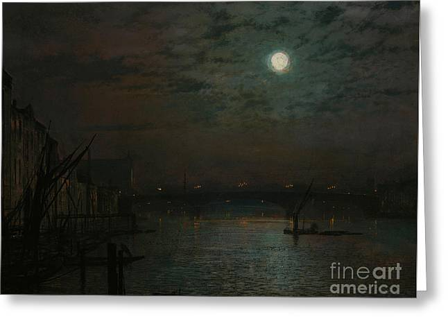 Southwark Bridge By Moonlight Greeting Card by John Atkinson Grimshaw