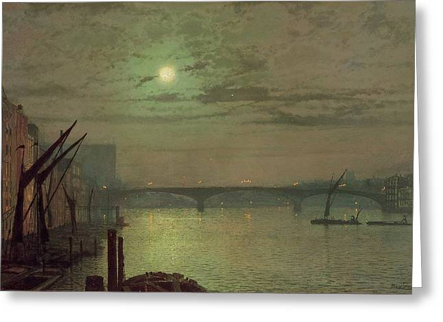 Grimshaw; John Atkinson (1836-93) Greeting Cards - Southwark Bridge Greeting Card by John Atkinson Grimshaw
