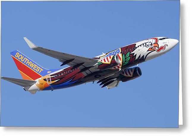 Southwest 737 Illinois One At Phoenix Sky Harbor December 2 2010 Greeting Card by Brian Lockett
