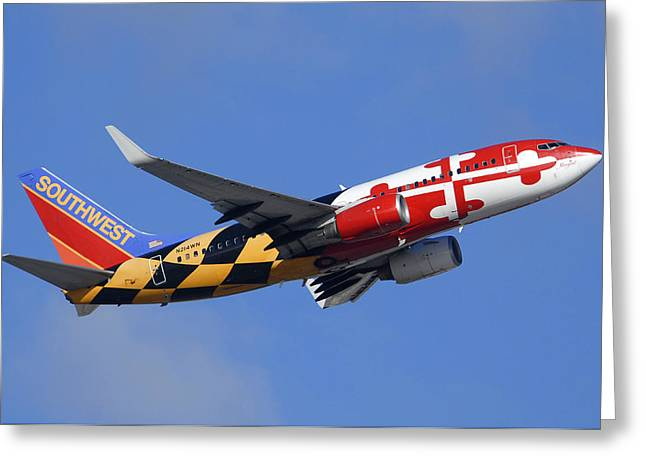 Southwest Airlines Boeing 737-7h4 N214wn Maryland One Phoenix Sky Harbor December 23 2010 Greeting Card by Brian Lockett