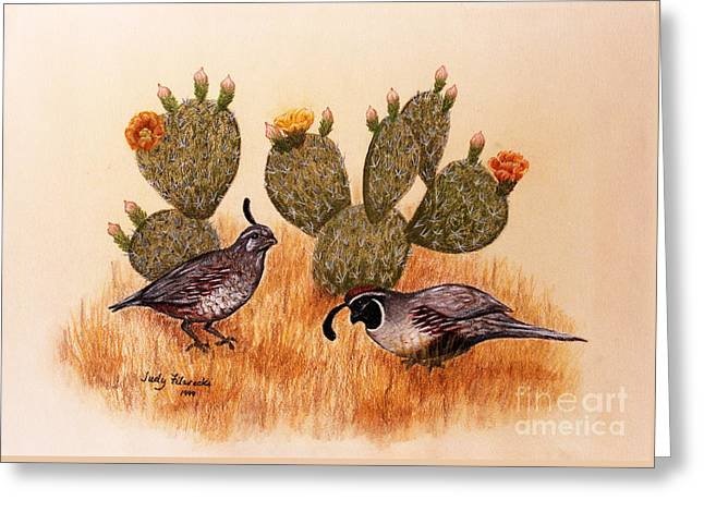 Southwest Art Gambels Quail Greeting Card