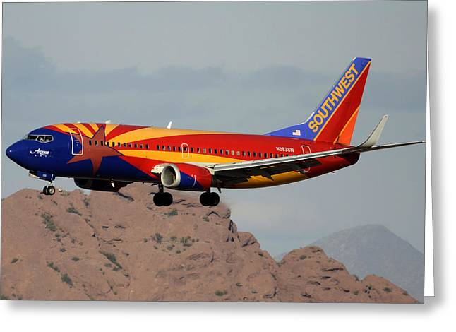 Southwest Boeing 737-3h4 N383sw Arizona Phoenix Sky Harbor December 20 2015  Greeting Card by Brian Lockett