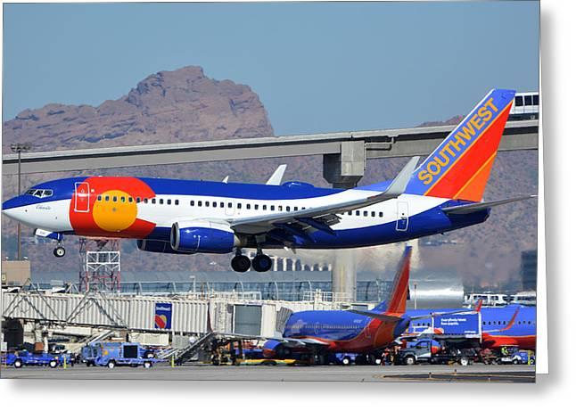 Southwest Boeing 737-7h4 N230wn Colorado One Phoenix Sky Harbor January 24 2016 Greeting Card by Brian Lockett