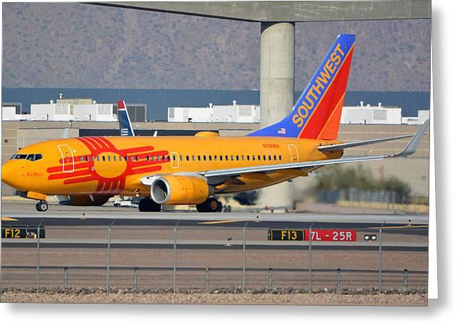 Southwest Boeing 737-7h4 N781wn New Mexico Phoenix Sky Harbor January 17 2016 Greeting Card by Brian Lockett