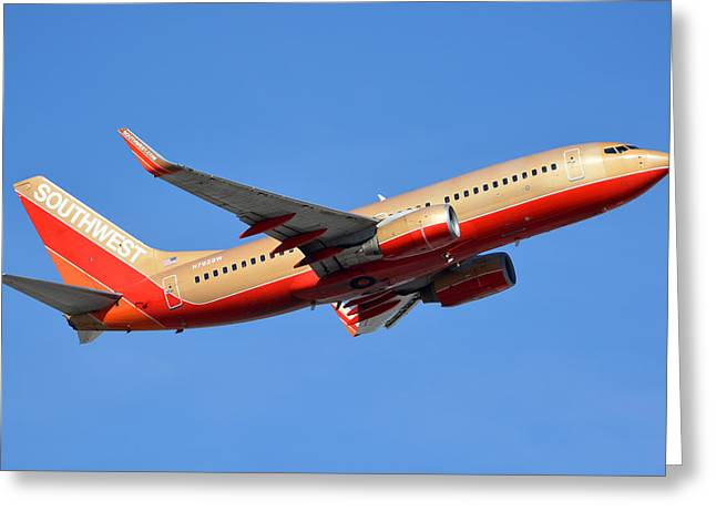 Southwest Boeing 737-7h4 N792sw Retro Gold Phoenix Sky Harbor January 21 2016 Greeting Card by Brian Lockett