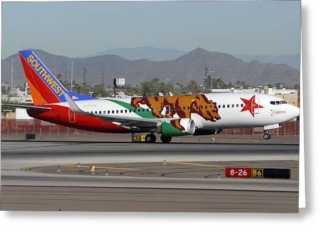 Southwest Boeing 737 California At Phoenix Sky Harbor November 10 2010 Greeting Card by Brian Lockett