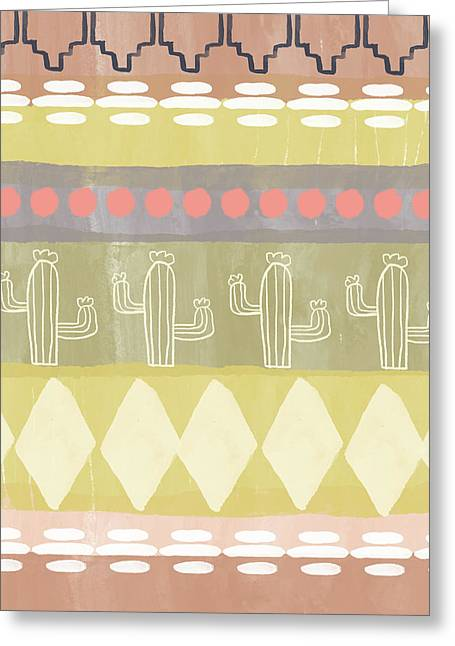 Southwest Cactus Decorative- Art By Linda Woods Greeting Card