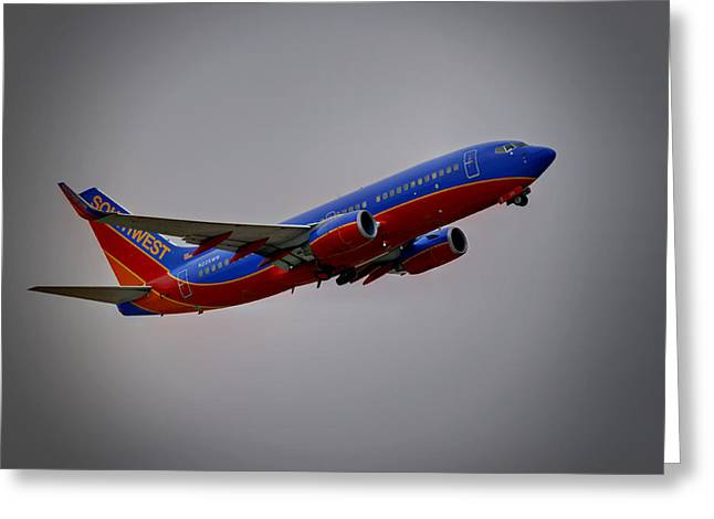 737 Greeting Cards - Southwest Departure Greeting Card by Ricky Barnard
