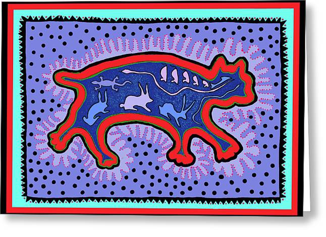 Greeting Card featuring the digital art Southwest Desert Feral Cat by Vagabond Folk Art - Virginia Vivier