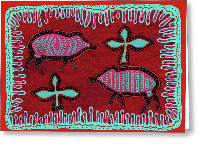 Greeting Card featuring the digital art Southwest Desert Javelina by Vagabond Folk Art - Virginia Vivier