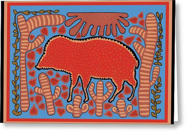 Greeting Card featuring the digital art Southwest Desert Wart Hog by Vagabond Folk Art - Virginia Vivier