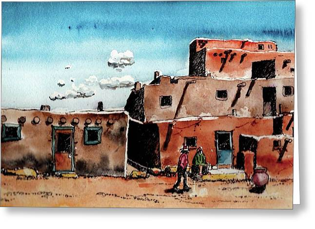 Greeting Card featuring the painting Southwest Homes by Terry Banderas