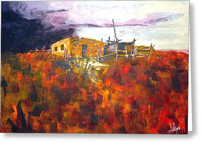 Greeting Card featuring the painting Southwest Landscape by Jim Phillips