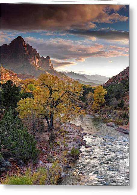Southwest Light Along The Virgin River Greeting Card by Leland D Howard