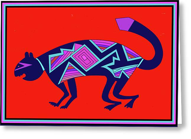 Greeting Card featuring the digital art Southwest Mimbres Feline by Vagabond Folk Art - Virginia Vivier