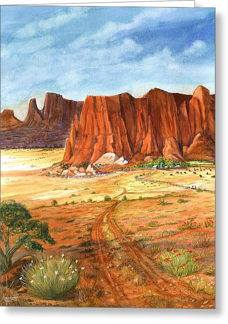 Southwest Red Rock Ranch Greeting Card by Marilyn Smith