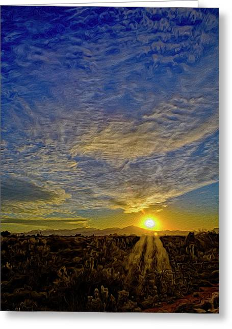Greeting Card featuring the digital art Southwest Sunset Op40 by Mark Myhaver