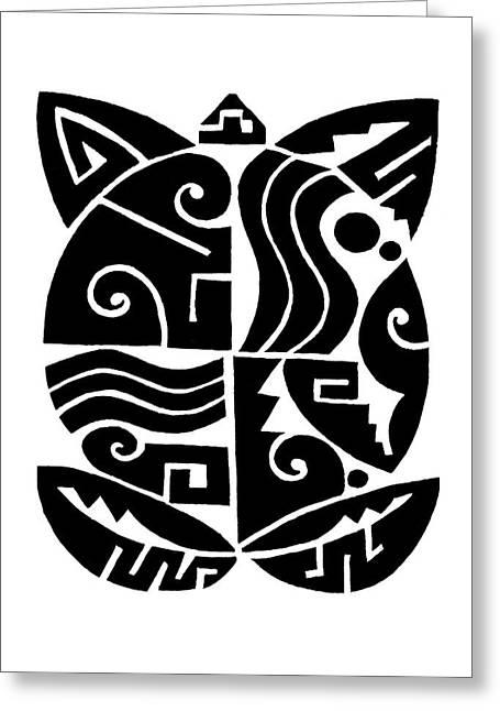 Greeting Card featuring the digital art Southwest Tribal Tortuga by Vagabond Folk Art - Virginia Vivier