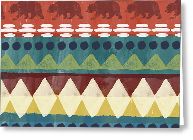 Southwest With Bears- Art By Linda Woods Greeting Card