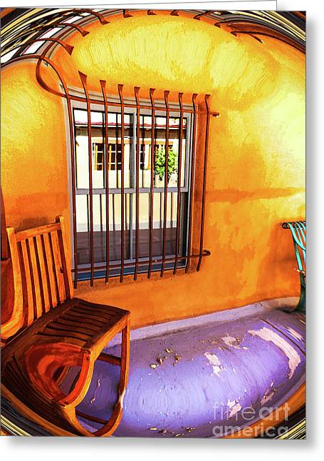 Southwestern Porch Distortion With Puple Floor Greeting Card