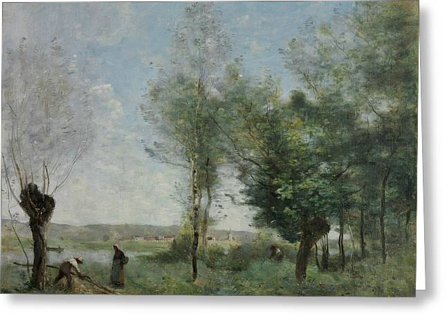 Souvenir Of Coubron Greeting Card by Jean-Baptiste-Camille Corot