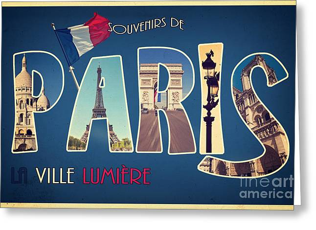 Souvernirs De Paris Greeting Card by Delphimages Photo Creations