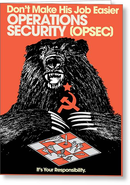 Soviet Threat - Usaf Opsec Vintage 80's Print Greeting Card