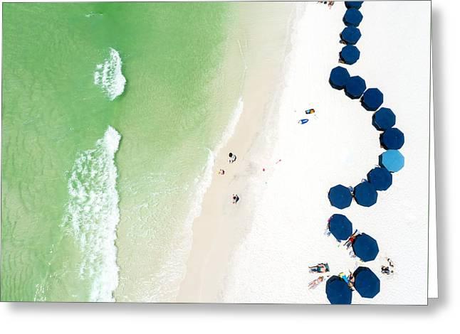 Sowal Beach Umbrellas Aerial Greeting Card