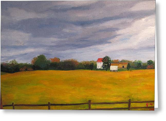 Soybean Field In Late Fall Greeting Card by Gloria Condon