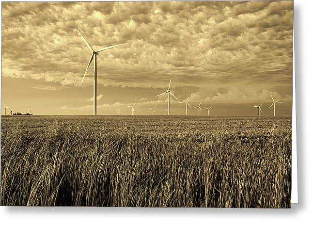 Soybeans And Turbines Greeting Card by Mountain Dreams