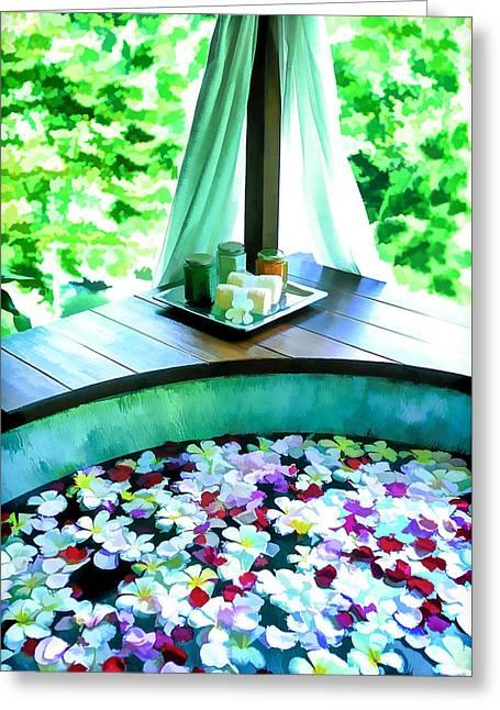 Spa Bath Tub Greeting Card
