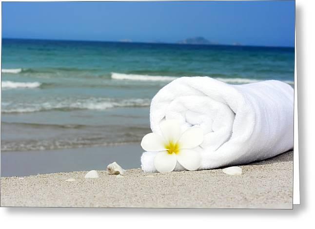 Beach Towel Greeting Cards - Spa still-life Greeting Card by MotHaiBaPhoto Prints