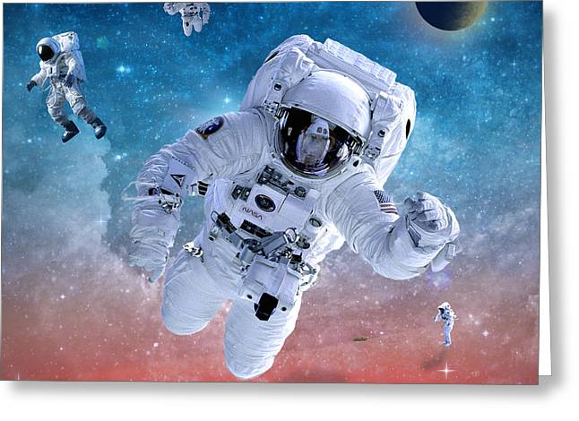 Space Astronaut Greeting Card by Mark Ashkenazi