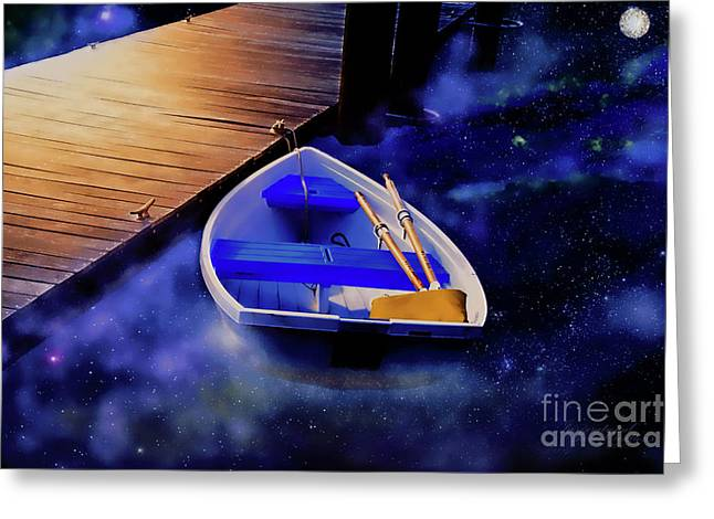 Space Boat Greeting Card
