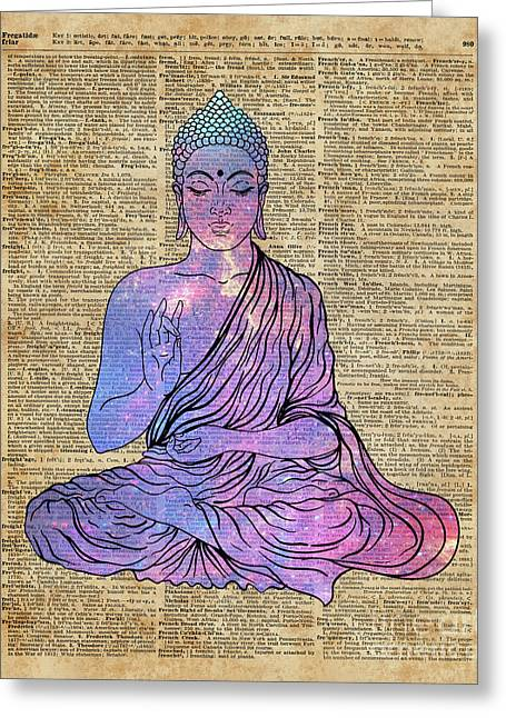 Space Buddha Dictionary Art Greeting Card by Joanna and Jacob Kuch