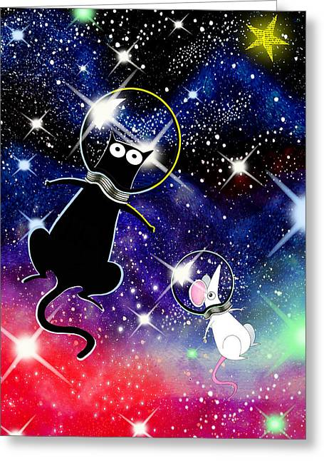 Space Cat Greeting Card by Andrew Hitchen