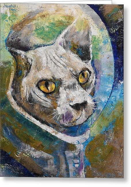 Space Cat Greeting Card by Michael Creese