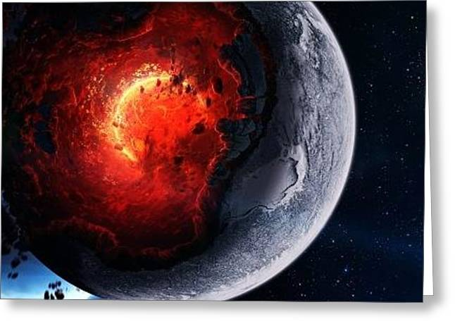 Space Cataclysm Planet Art Explosion Asteroids Comets Fragments 98315 400x480 Greeting Card